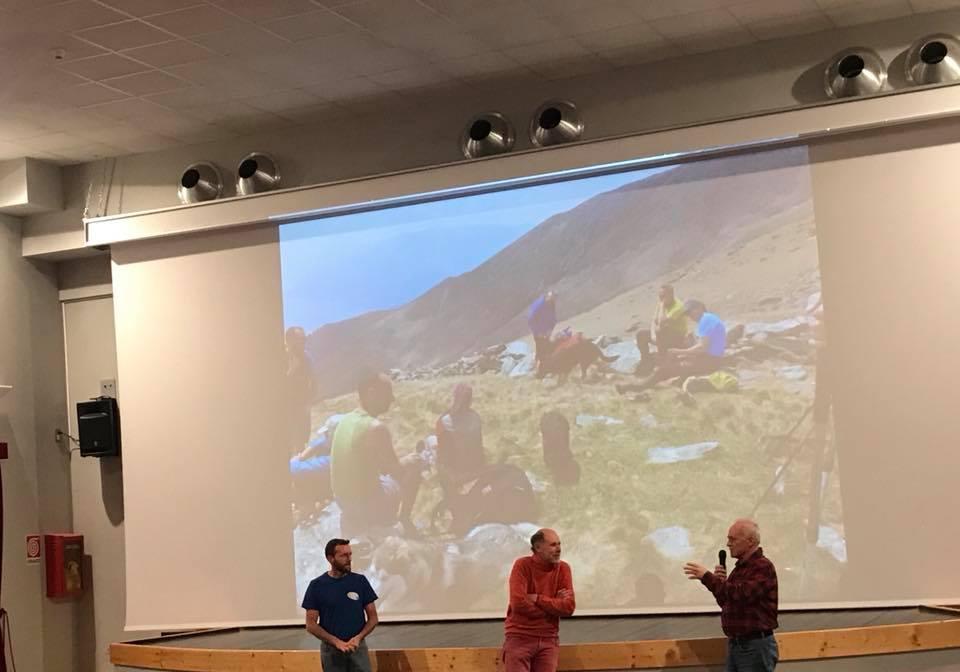 Il presidente con gli ospiti guide alpine: Merizzi e Masa